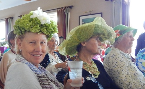 Winner of All Natural Hat: Joanne Hunt (left) sitting beside Sylvia Outerbridge and Betsy Mowbray